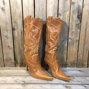 Aldo Western Stiletto Leather Cowboy Boots